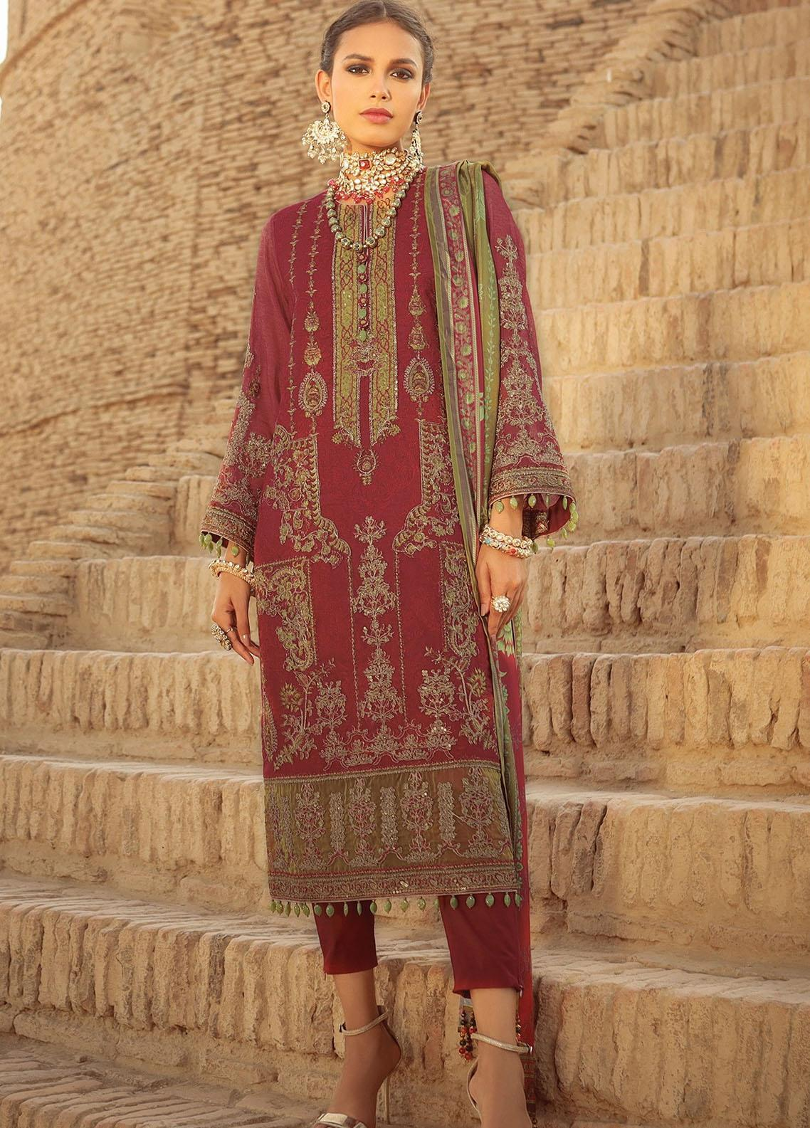 Al Karam Embroidered Cotton Satin Suits Unstitched 3 Piece AK21F-2 FC-17F-21-2-Maroon - Summer Collection