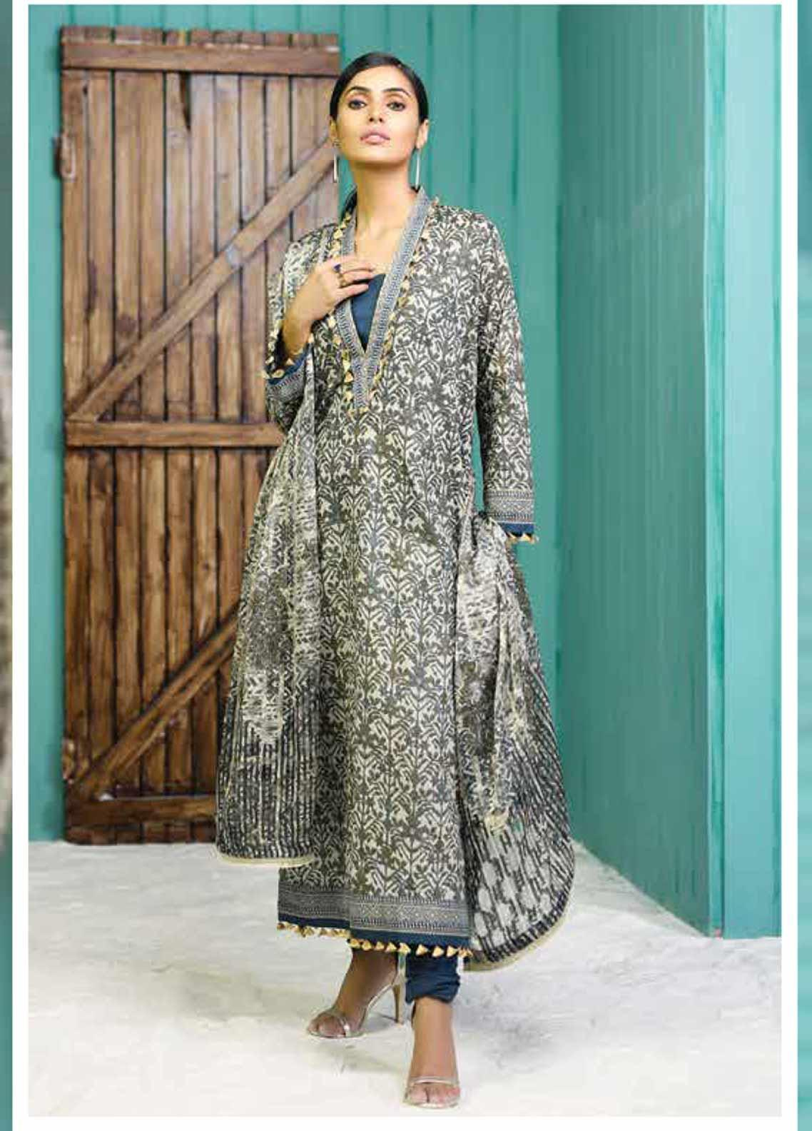 Al Karam Printed Lawn Unstitched 2 Piece Suit AK19-L2 14.1