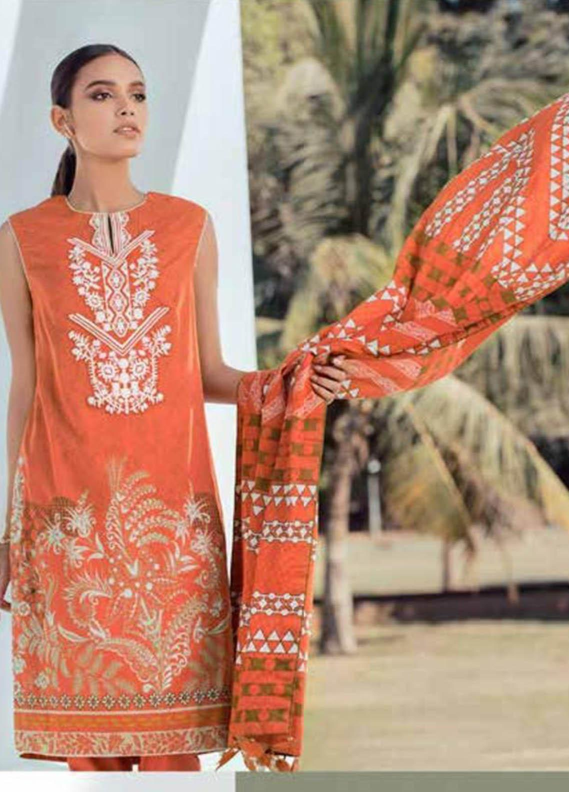 Al Karam Embroidered Lawn Suits Unstitched 3 Piece AK21S SS-24-21 Orange - Summer Collection