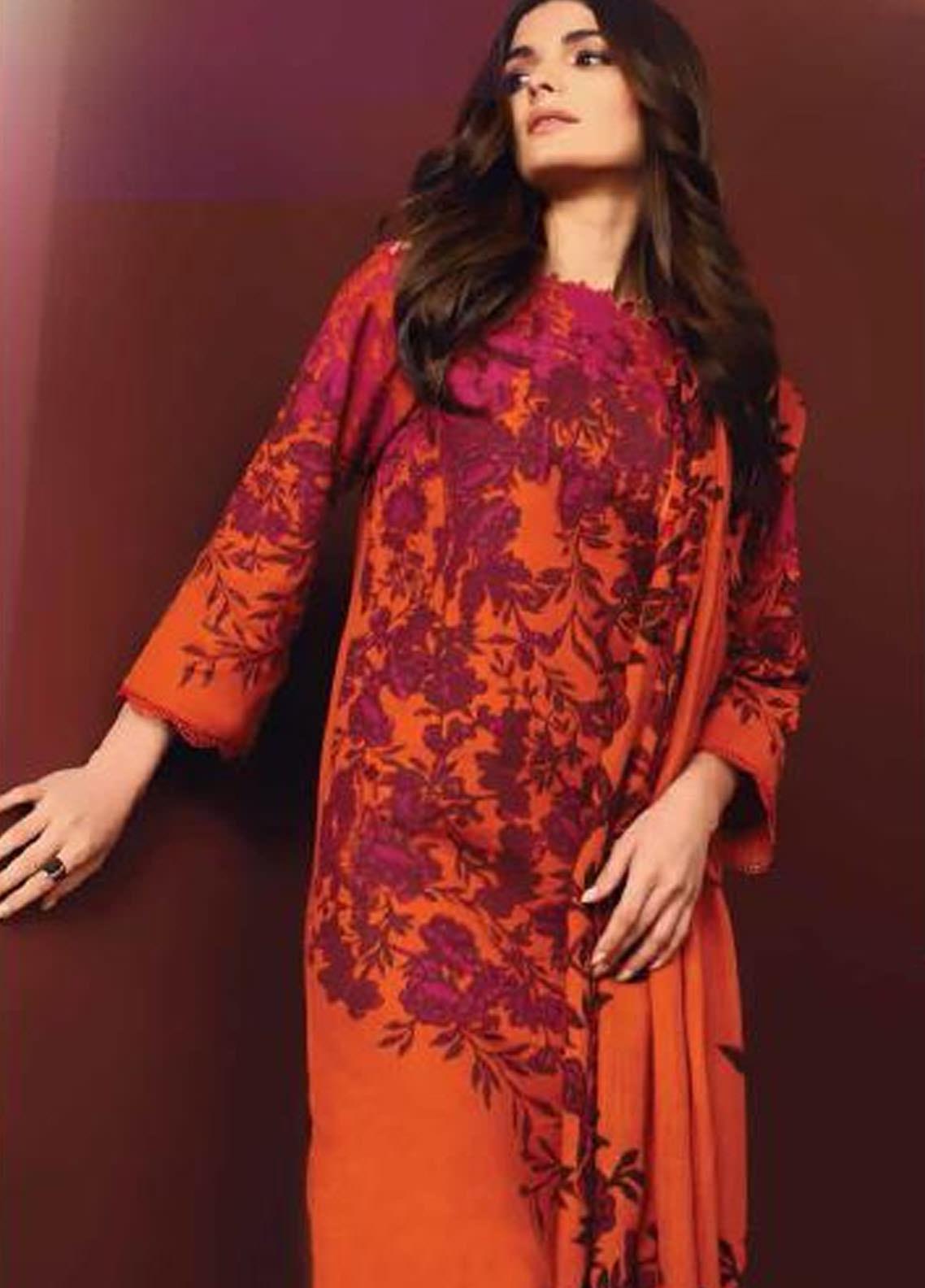 Al Karam Printed Khaddar Unstitched 3 Piece Suit AK20W FW-04-20 ORANGE - Winter Collection