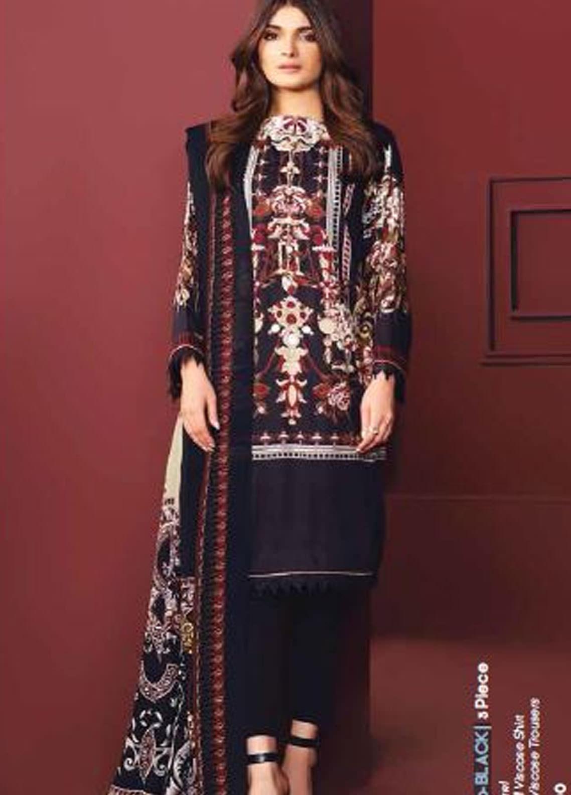 Al Karam Printed Viscose Unstitched 3 Piece Suit AK20W FW-06-20 BLACK - Winter Collection