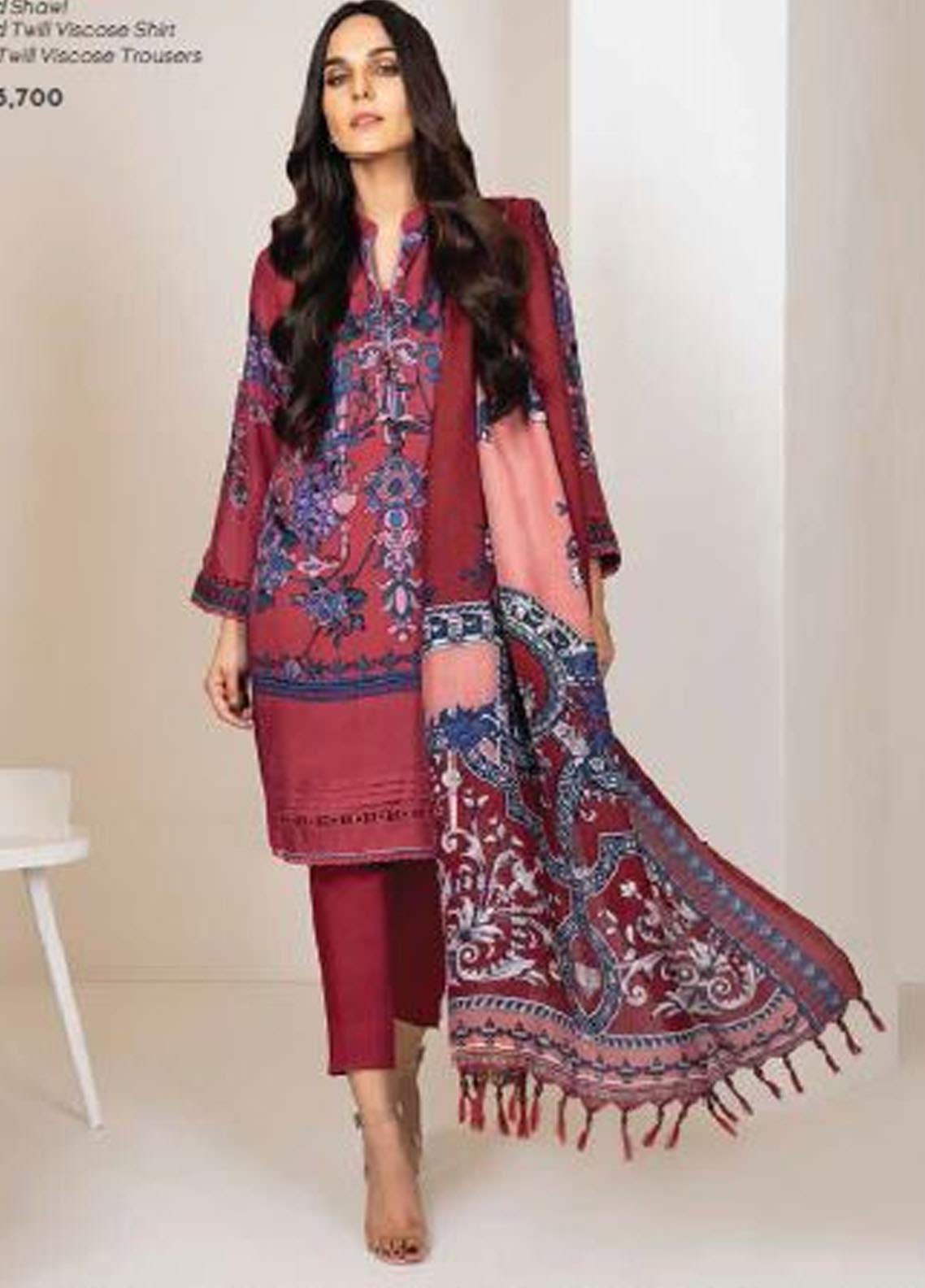 Al Karam Printed Viscose Unstitched 3 Piece Suit AK20W FW-06-20 PINK - Winter Collection
