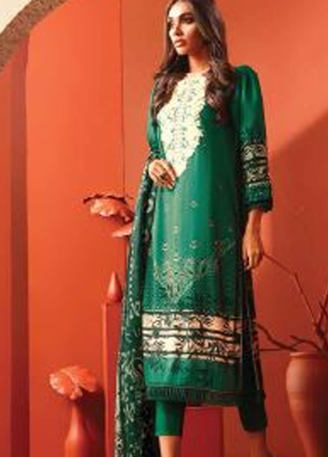 Al Karam Embroidered Viscose Unstitched 3 Piece Suit AK20W FW-09-01-20 GREEN - Winter Collection