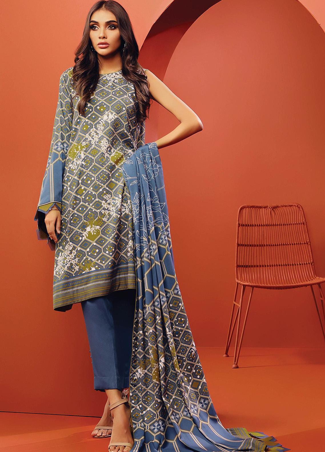 Al Karam Printed Viscose Unstitched 3 Piece Suit AK20W FW-12-01-20 BLUE - Winter Collection