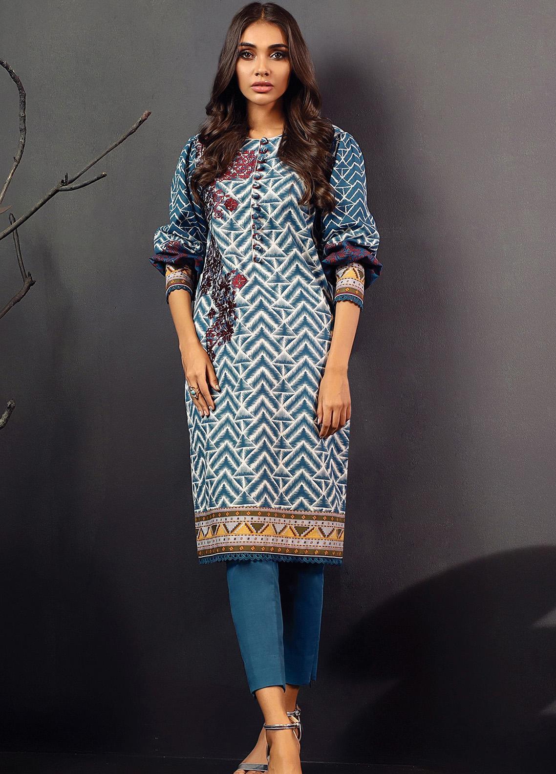 Al Karam Embroidered Khaddar Unstitched 2 Piece Suit AK20W FW-21-01-20 BLUE - Winter Collection
