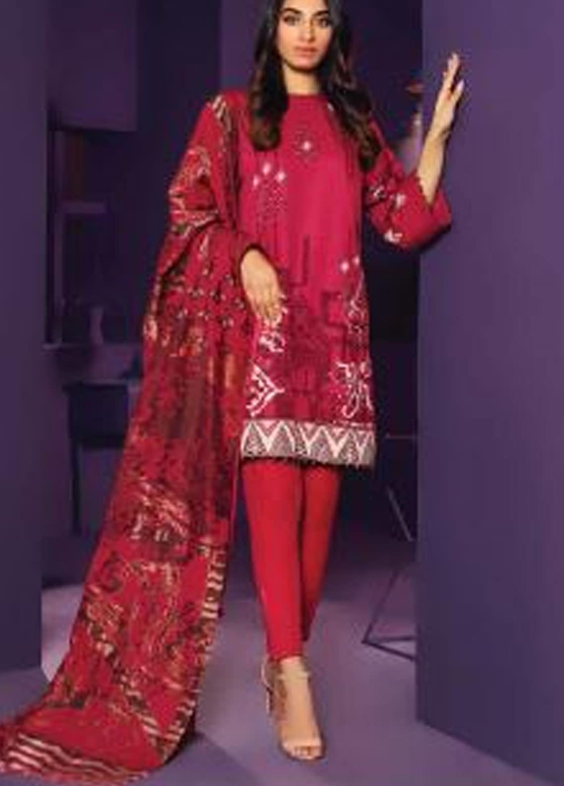 Al Karam Printed Khaddar Unstitched 3 Piece Suit AK20W FW-26-20 MAROON - Winter Collection