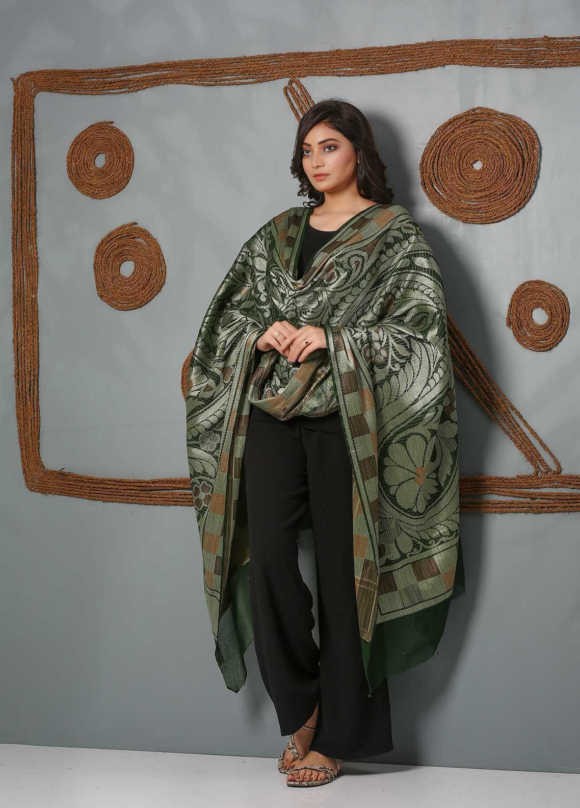Al Rahim Banarsi Embroidered Banarsi  Shawl AR21BS ALF53 Bottle Green - Banarsi Shawls
