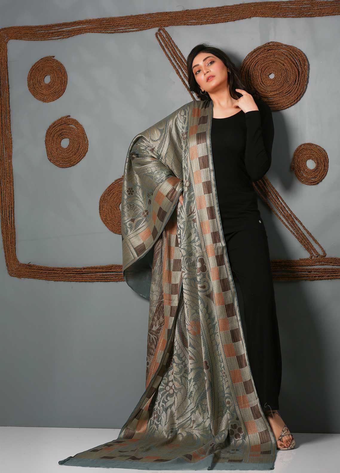 Al Rahim Banarsi Embroidered Banarsi  Shawl AR21BS ALF53 Grey - Banarsi Shawls