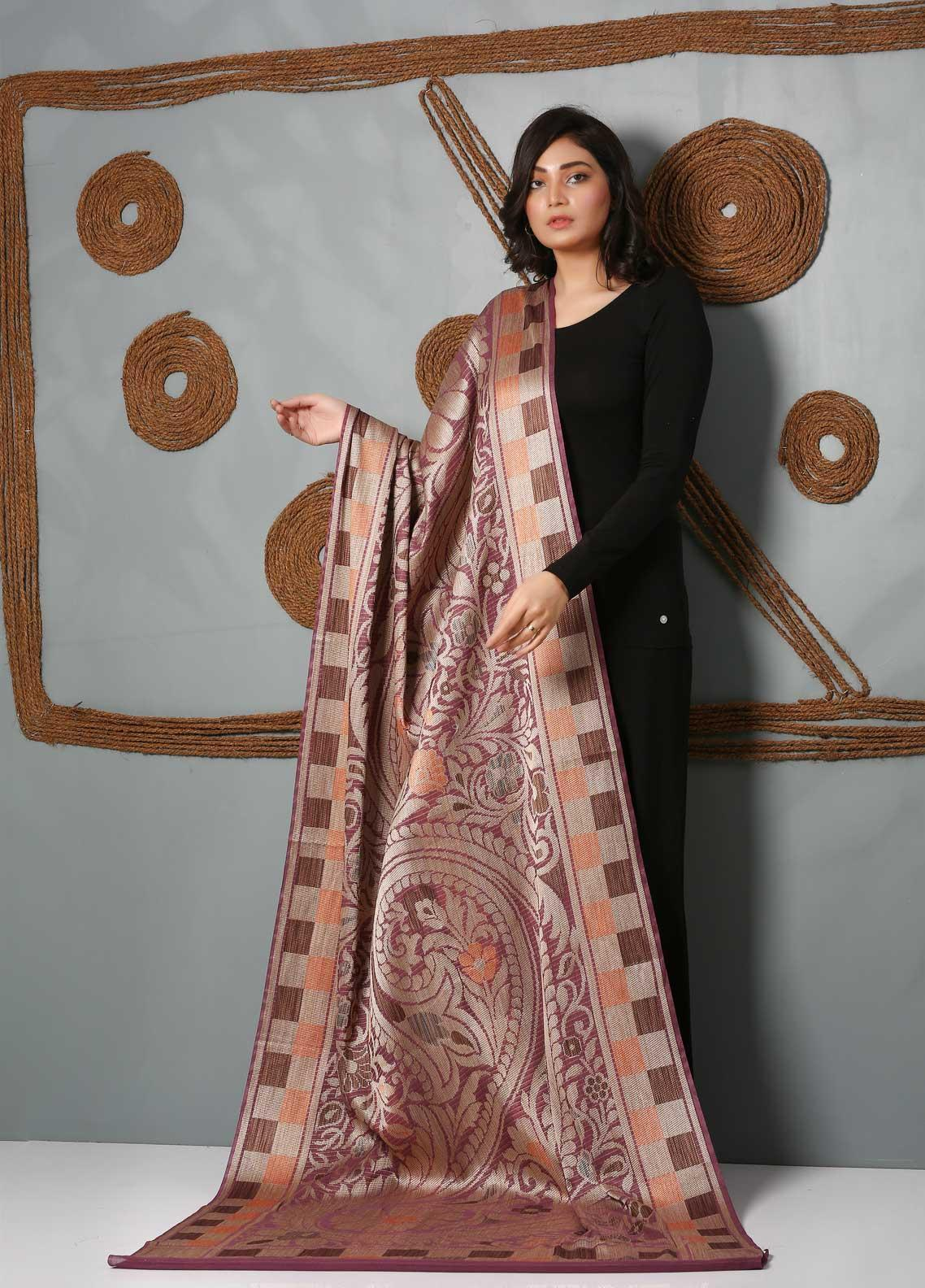 Al Rahim Banarsi Embroidered Banarsi  Shawl AR21BS ALF53 Margenta Pink - Banarsi Shawls