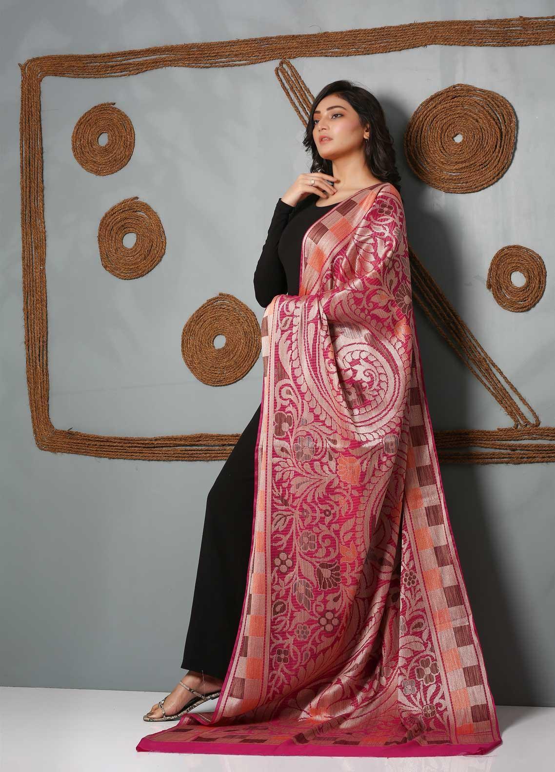 Al Rahim Banarsi Embroidered Banarsi  Shawl AR21BS ALF53 Pink - Banarsi Shawls