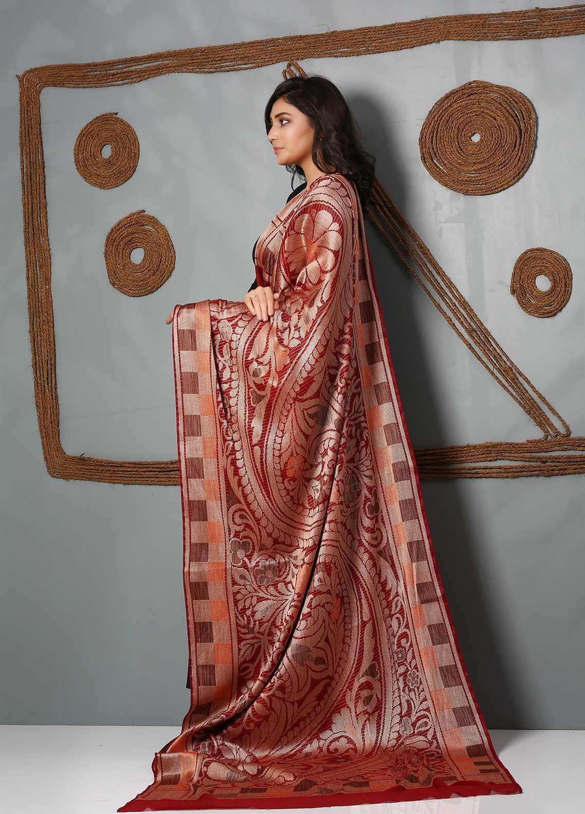 Al Rahim Banarsi Embroidered Banarsi  Shawl AR21BS ALF53 Red - Banarsi Shawls