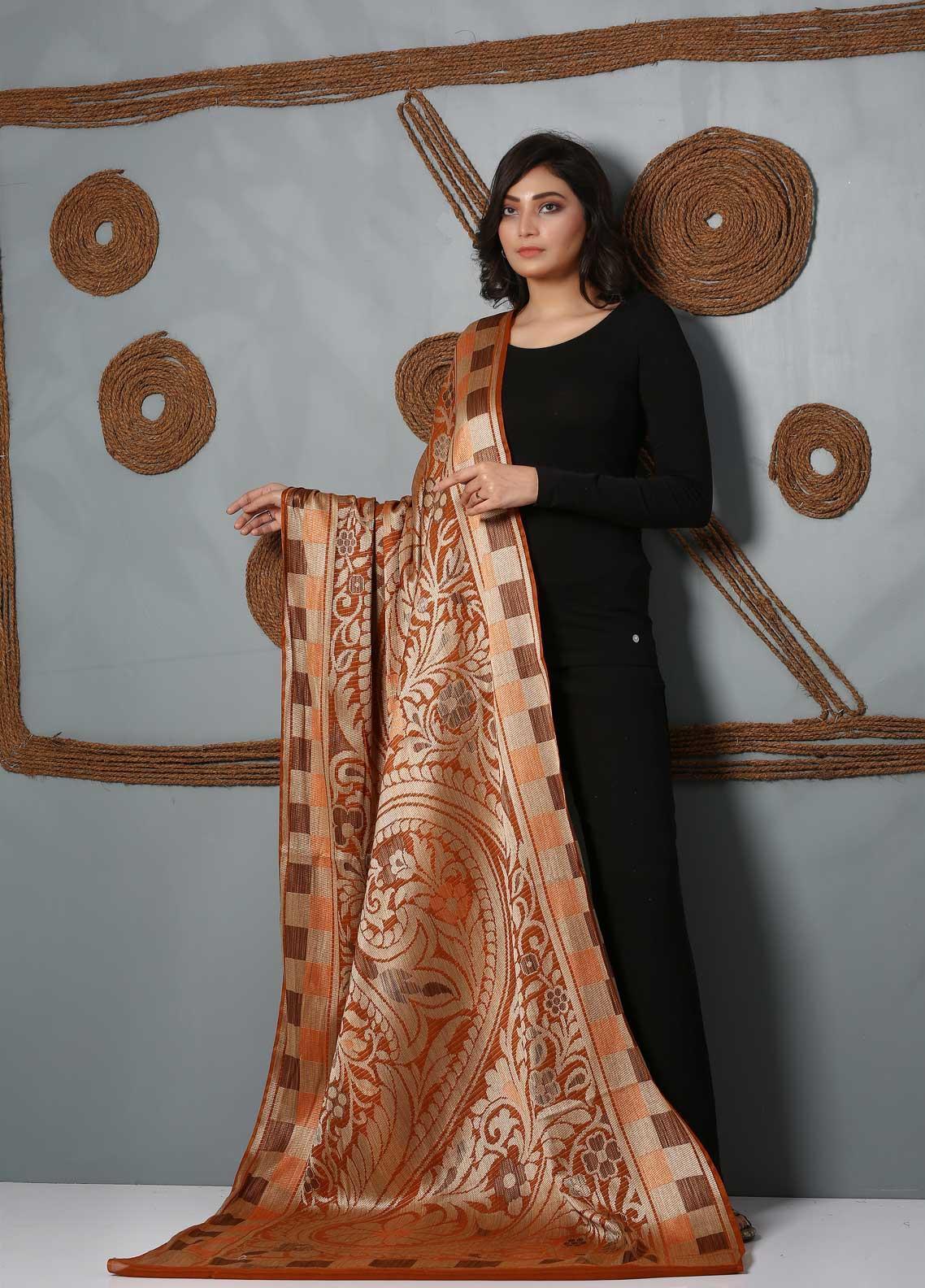 Al Rahim Banarsi Embroidered Banarsi  Shawl AR21BS ALF53 Rust - Banarsi Shawls