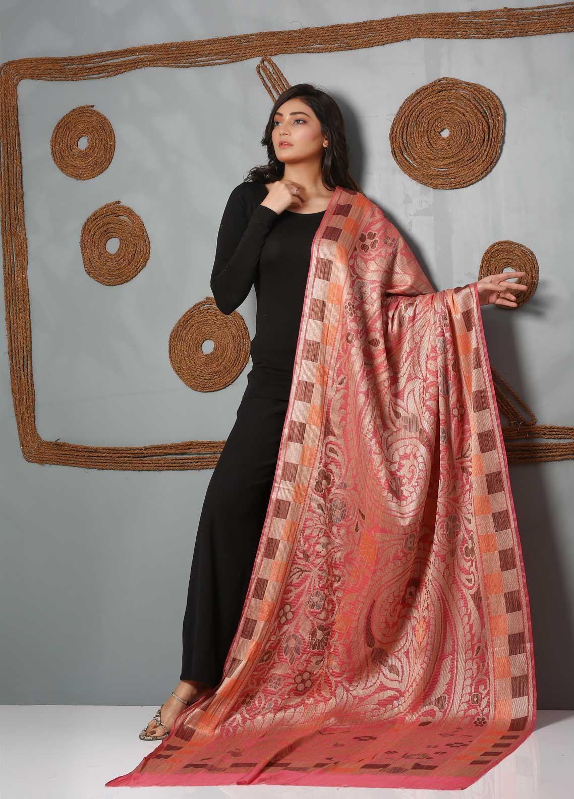 Al Rahim Banarsi Embroidered Banarsi  Shawl AR21BS ALF53 Tea Pink - Banarsi Shawls