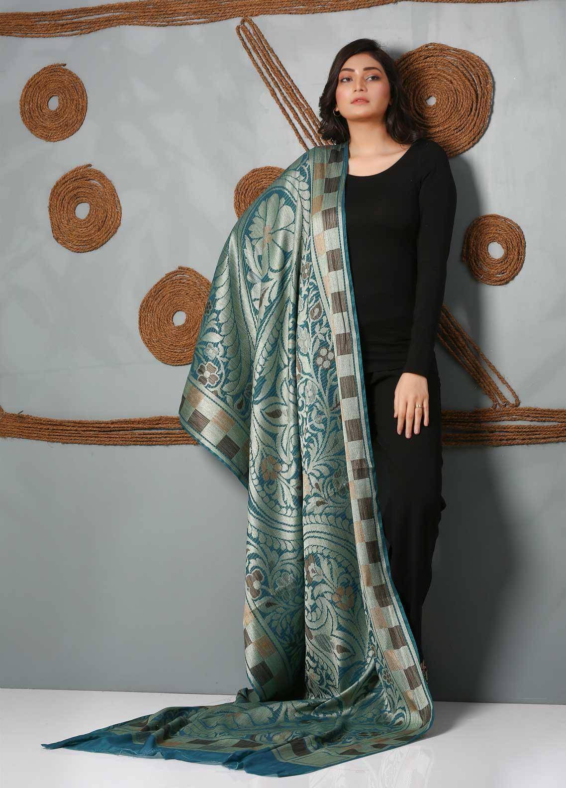 Al Rahim Banarsi Embroidered Banarsi  Shawl AR21BS ALF53 Teal Blue - Banarsi Shawls
