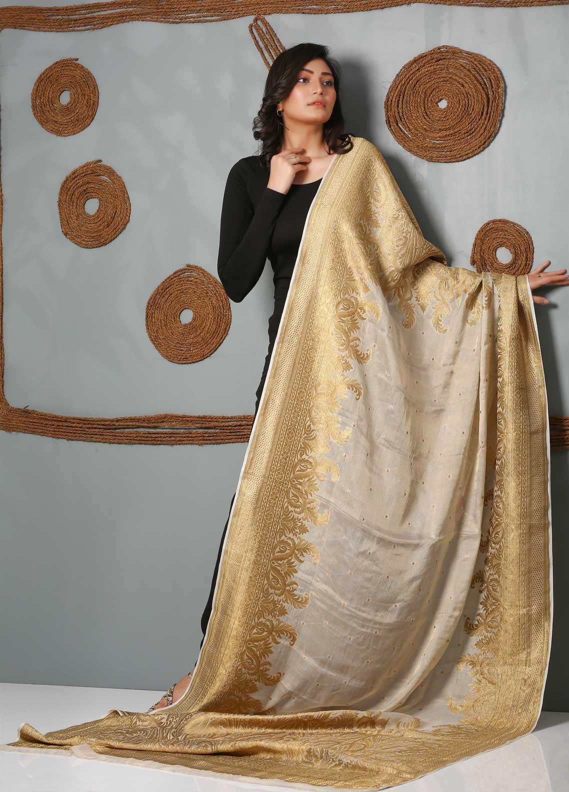 Al Rahim Banarsi Embroidered Banarsi  Shawl AR21BS DMR205 Baige - Banarsi Shawls