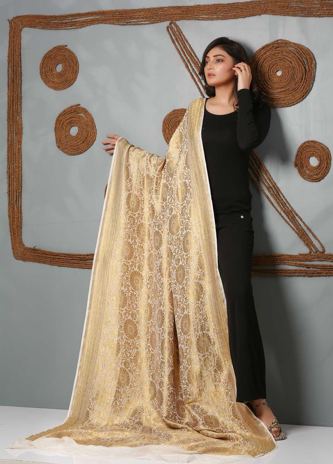 Al Rahim Banarsi Embroidered Banarsi  Shawl AR21BS DRC51 Golden - Banarsi Shawls