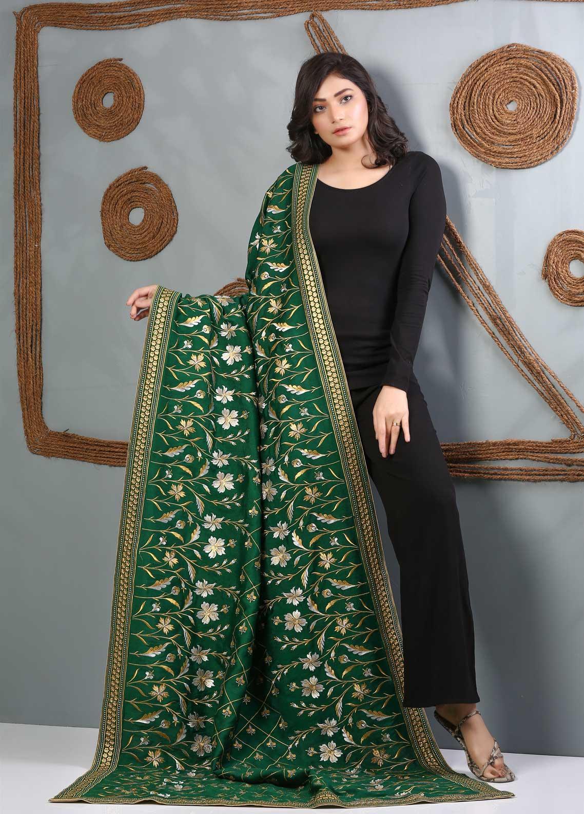 Al Rahim Banarsi Embroidered Banarsi  Shawl AR21BS DVE22 Green - Banarsi Shawls