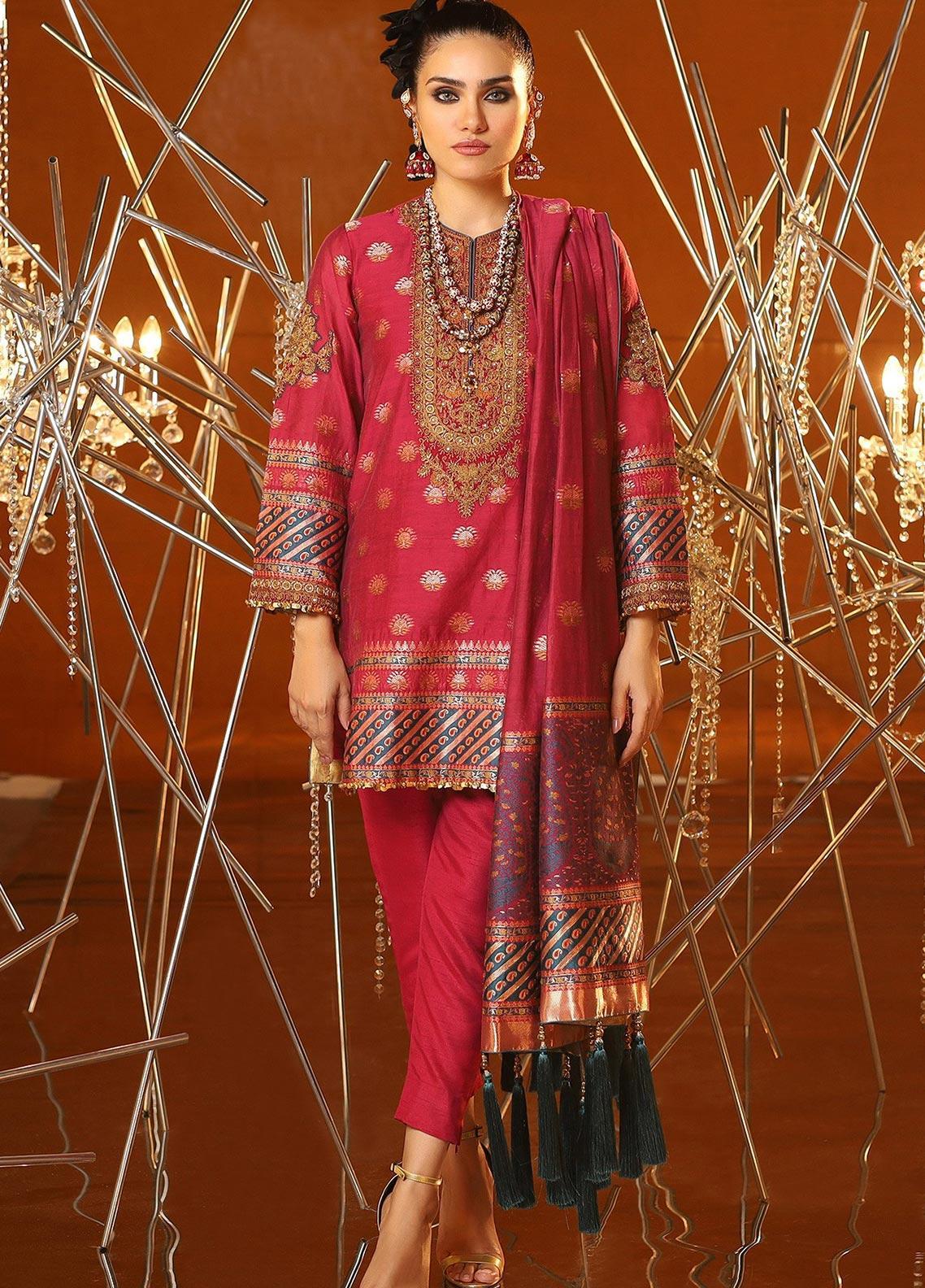 Al Karam Embroidered Jacquard Unstitched 3 Piece Suit AK20F-04A MAGENTA - Festive Collection
