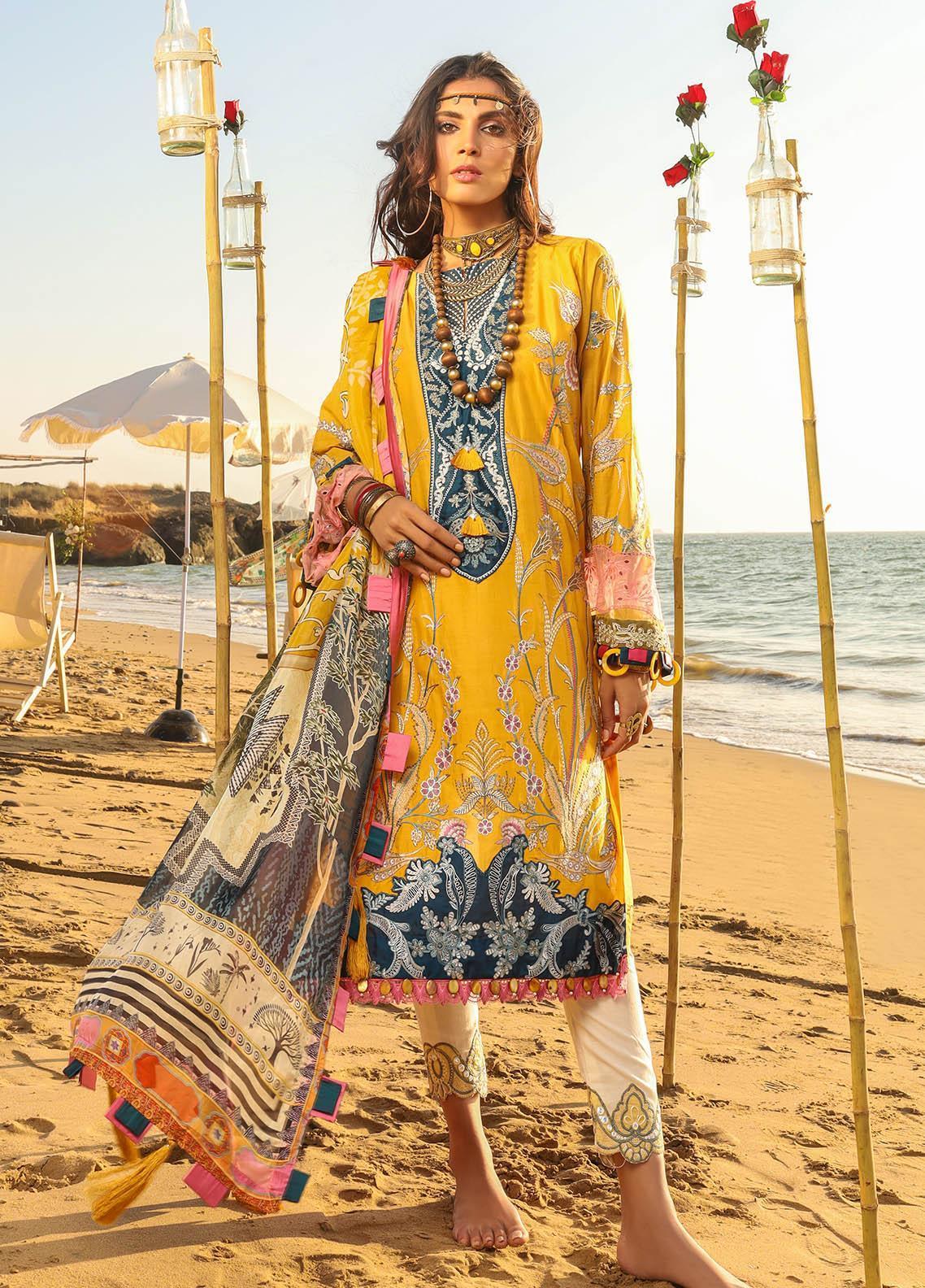 Alif by AJR Couture Embroidered Lawn Suits Unstitched 3 Piece AJR21A ALL-04 MARIGOLD - Summer Collection