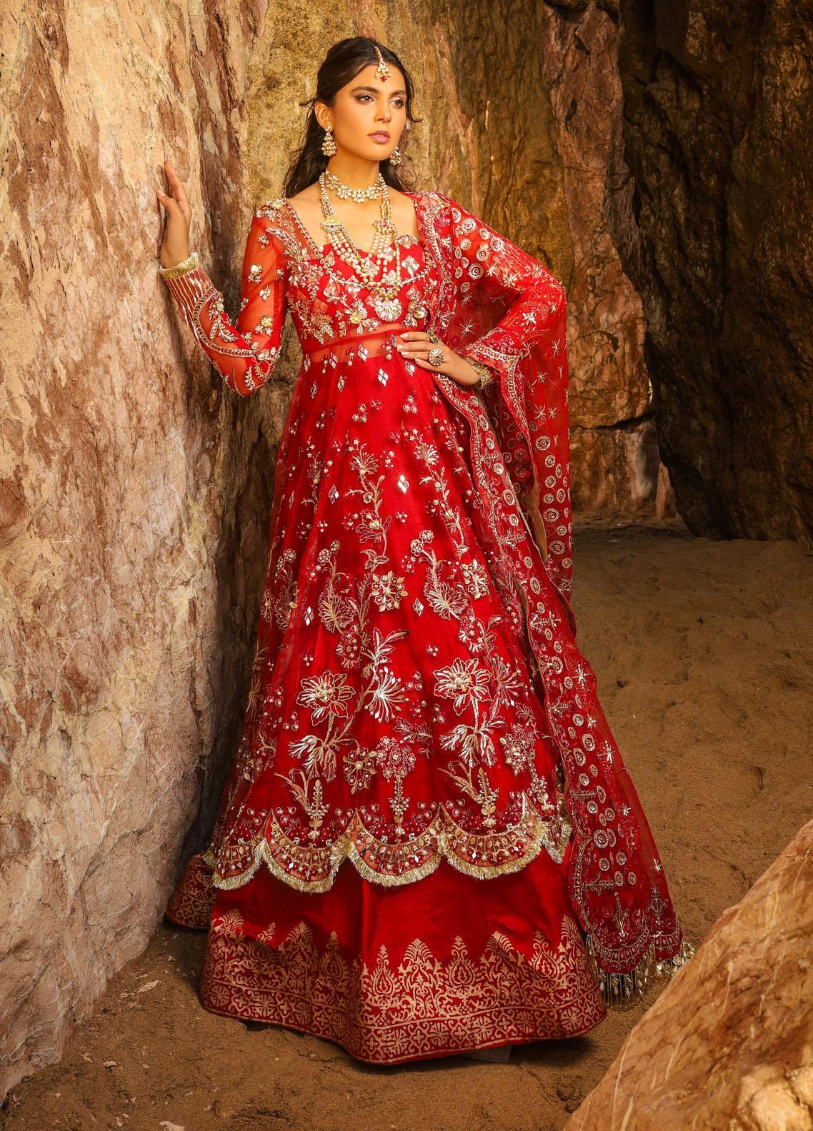 Alif by AJR Couture Embroidered Net Suits Unstitched 3 Piece AJR21WD 04 Ruby - Wedding Collection