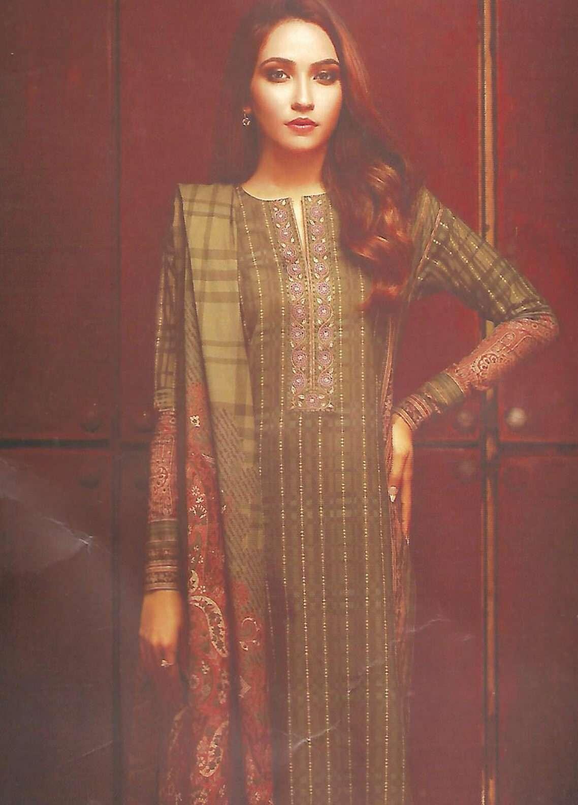 Al Karam Printed Khaddar Unstitched 3 Piece Suit AK18W FW 36.1 GREEN - Winter Fashion