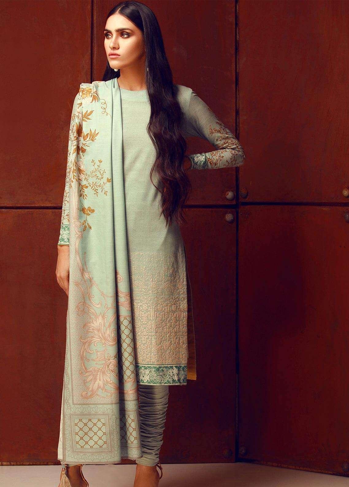 Al Karam Embroidered Khaddar Unstitched 3 Piece Suit AK18W FW 37.1 TURQUOISE - Winter Fashion