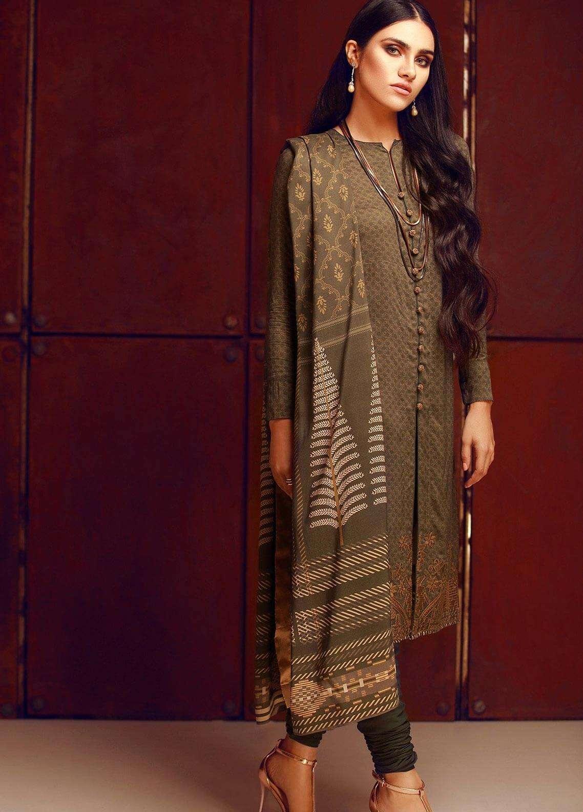 Al Karam Embroidered Viscose Unstitched 2 Piece Suit AK18W FW 38.1 GREEN - Winter Fashion
