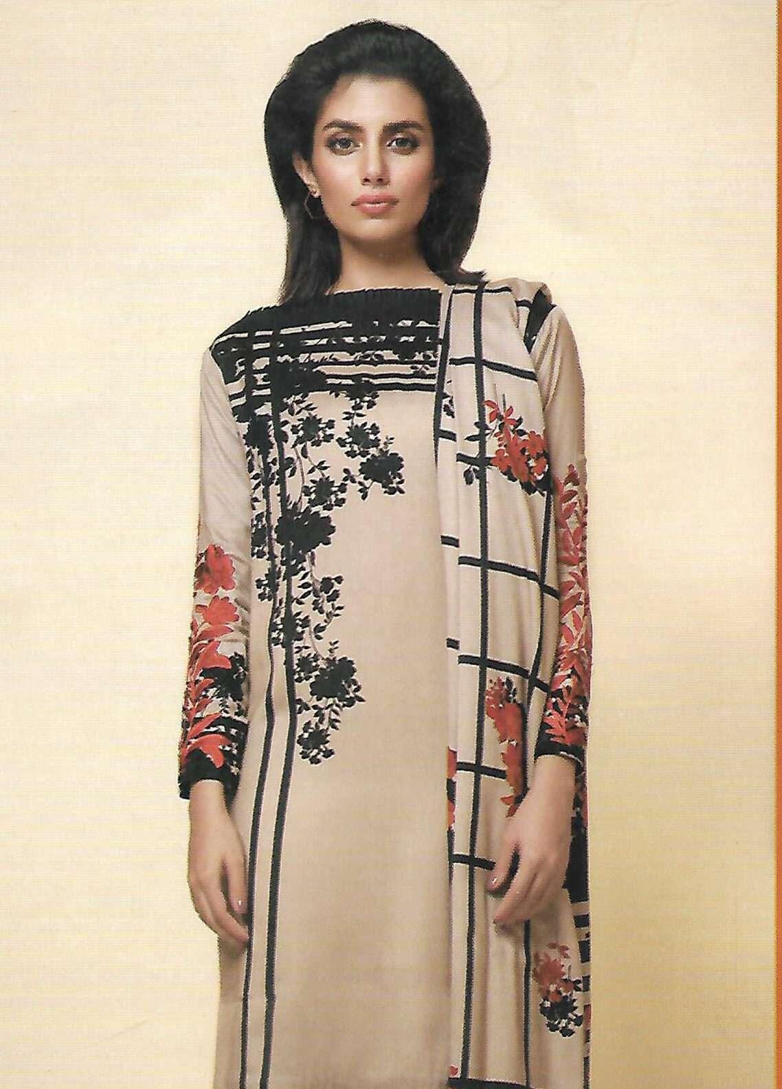 Al Karam Embroidered Viscose Unstitched 3 Piece Suit AK18W FW 43 PEACH - Winter Fashion