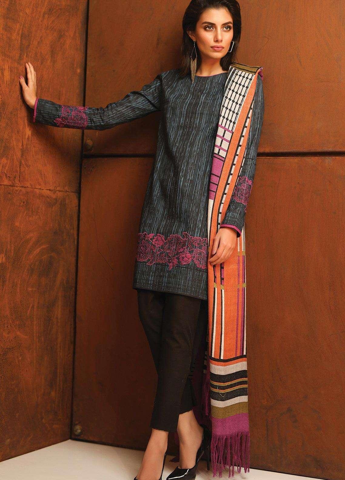 Al Karam Embroidered Khaddar Unstitched 3 Piece Suit AK18W FW 46.1 GREY - Winter Fashion