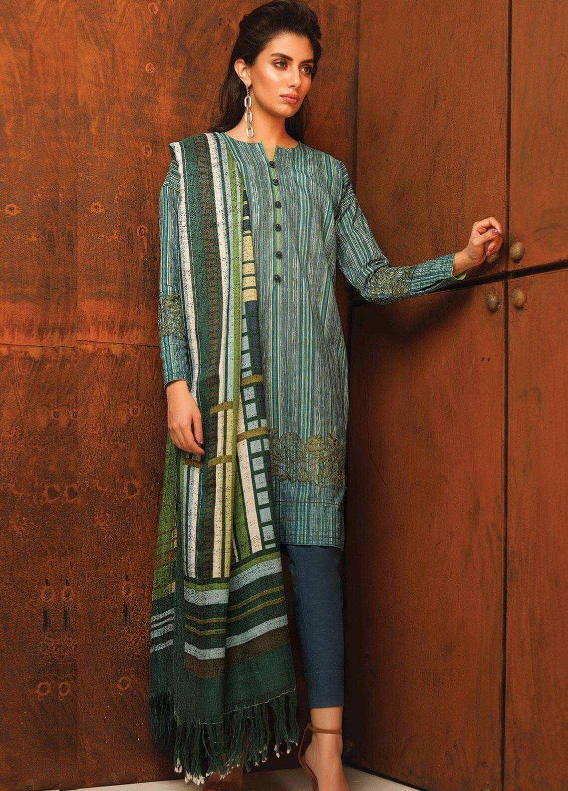 Al Karam Embroidered Khaddar Unstitched 3 Piece Suit AK18W FW 46.1 TURQUOISE - Winter Fashion