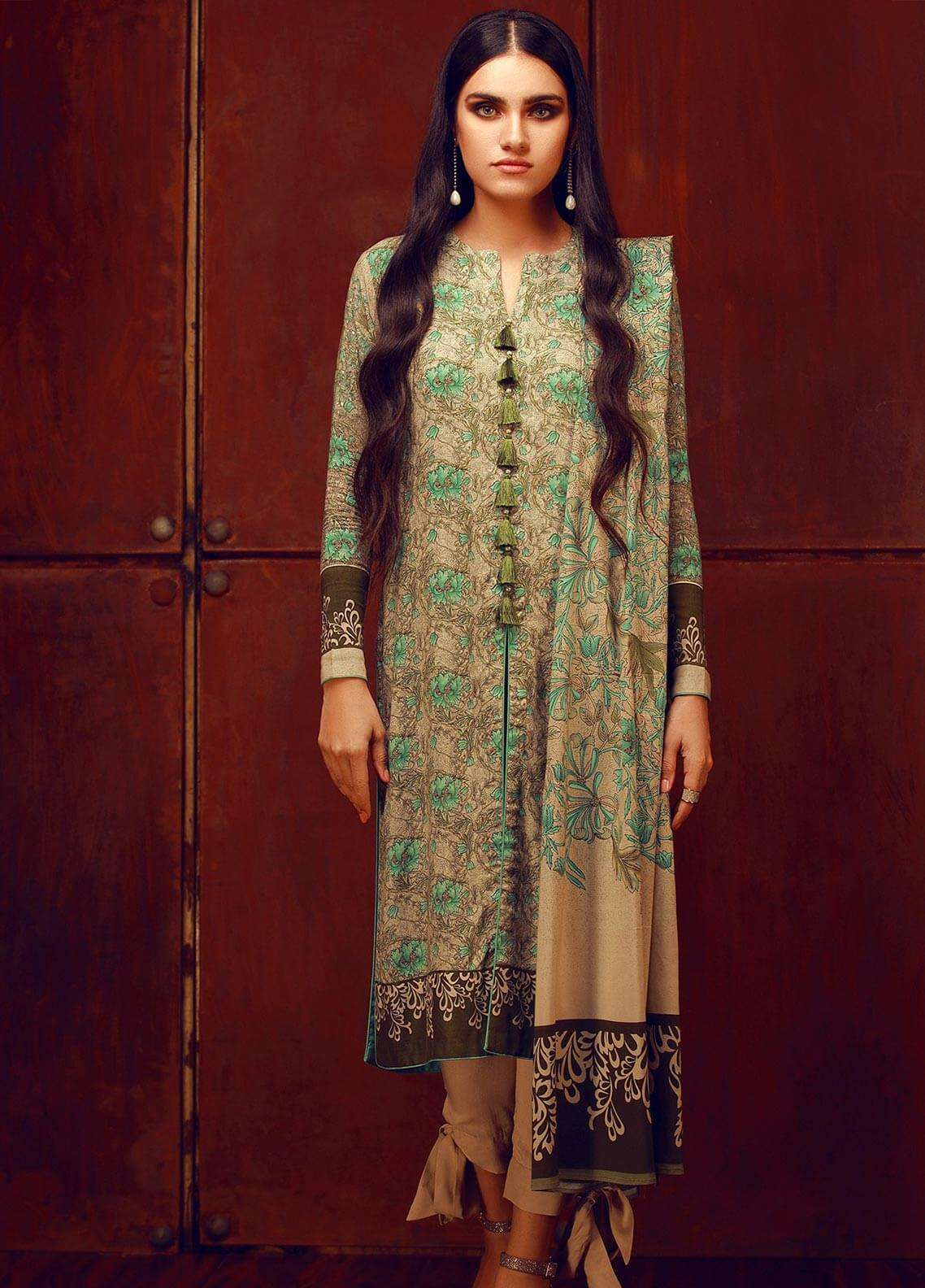 Al Karam Printed Viscose Unstitched 3 Piece Suit AK18W FW 53.1 GREEN - Winter Fashion