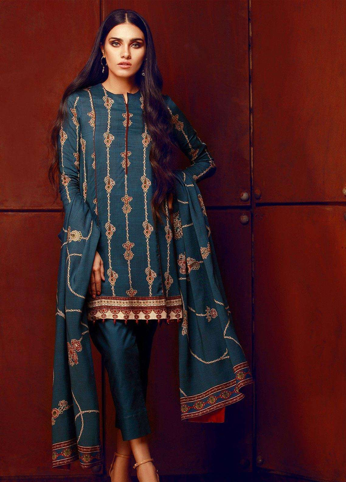 Al Karam Printed Viscose Unstitched 3 Piece Suit AK18W FW 55.1 BLUE - Winter Fashion
