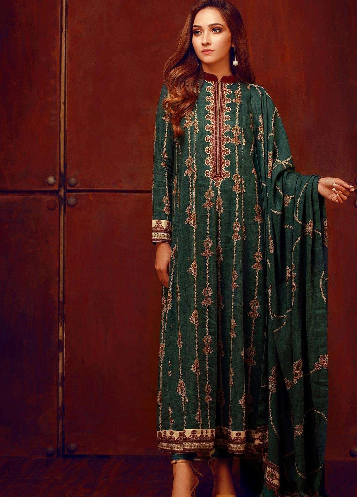 Al Karam Printed Viscose Unstitched 3 Piece Suit AK18W FW 55.1 GREEN - Winter Fashion