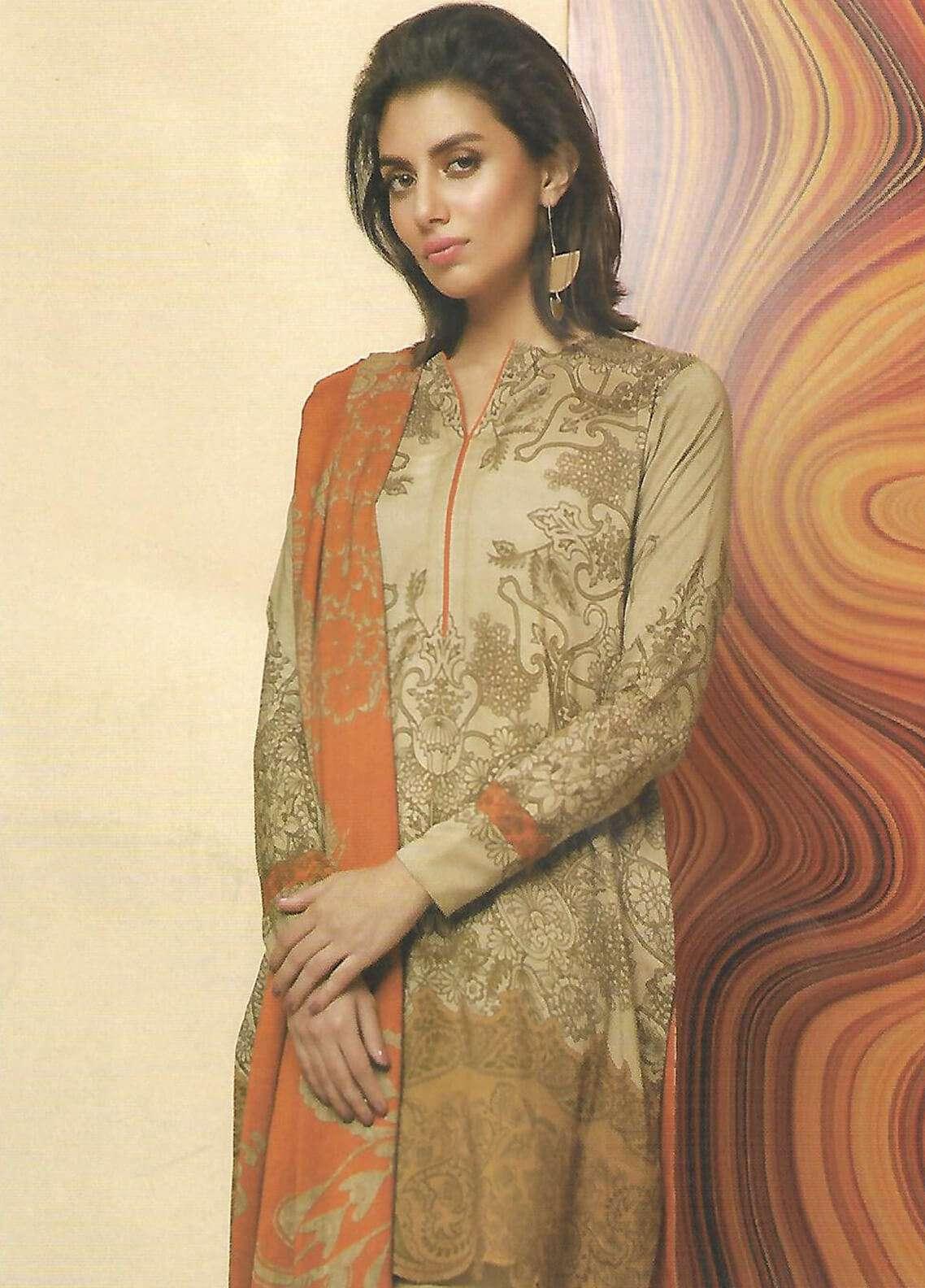 Al Karam Printed Viscose Unstitched 2 Piece Suit AK18W FW 64 BEIGE - Winter Fashion