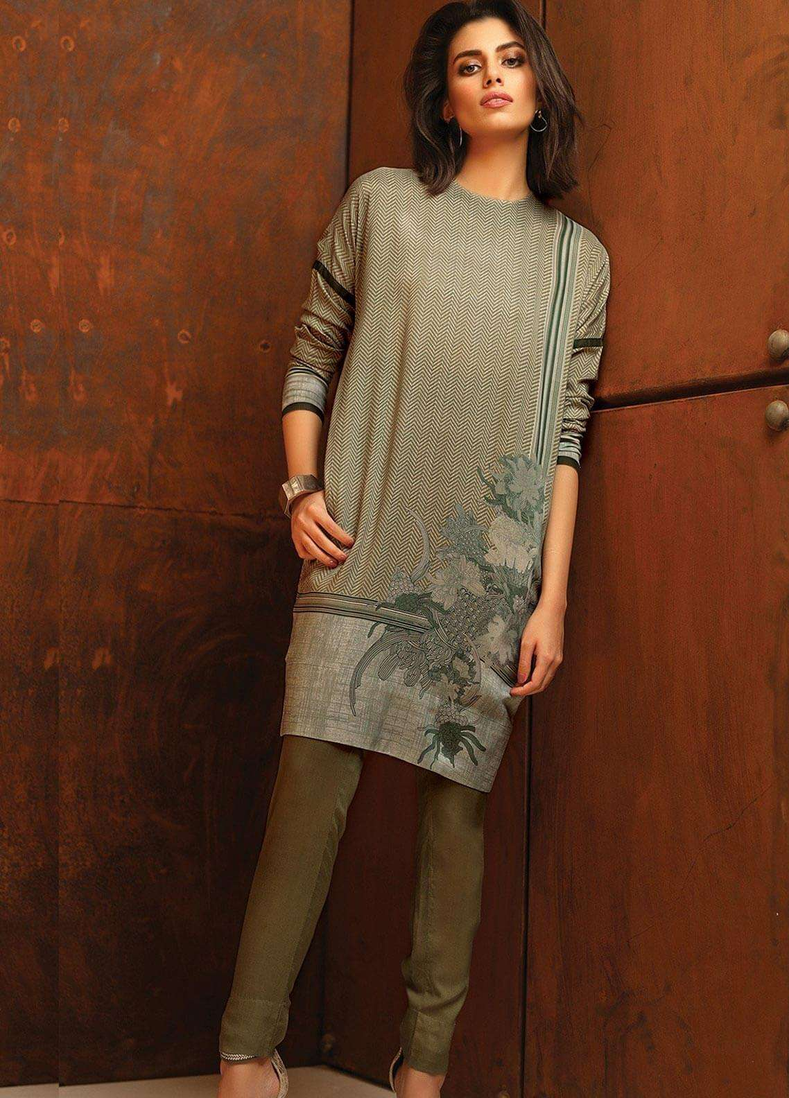 Al Karam Printed Viscose Unstitched 2 Piece Suit AK18W FW 65 GREY - Winter Fashion