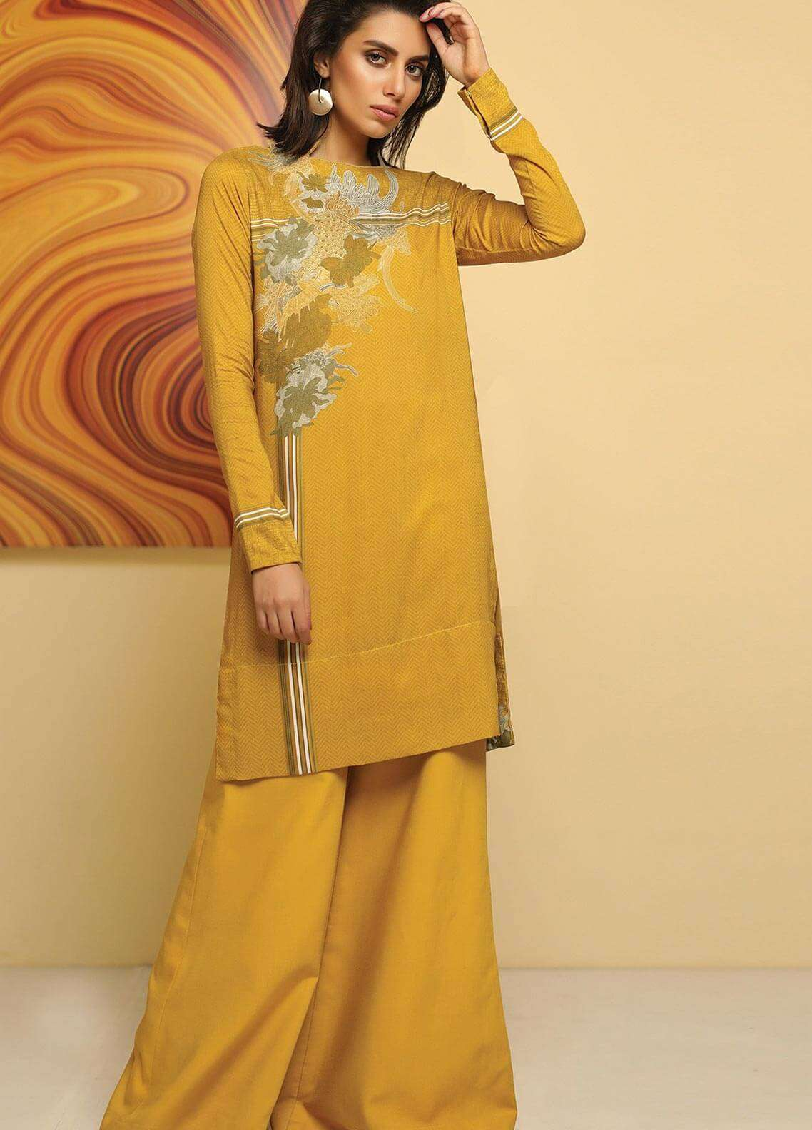 Al Karam Printed Viscose Unstitched 2 Piece Suit AK18W FW 65 OLIVE - Winter Fashion