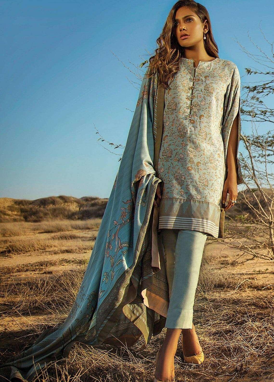 Al Karam Printed Viscose Unstitched 3 Piece Suit AK18W FW 8.1 TURQUOISE - Winter Fashion