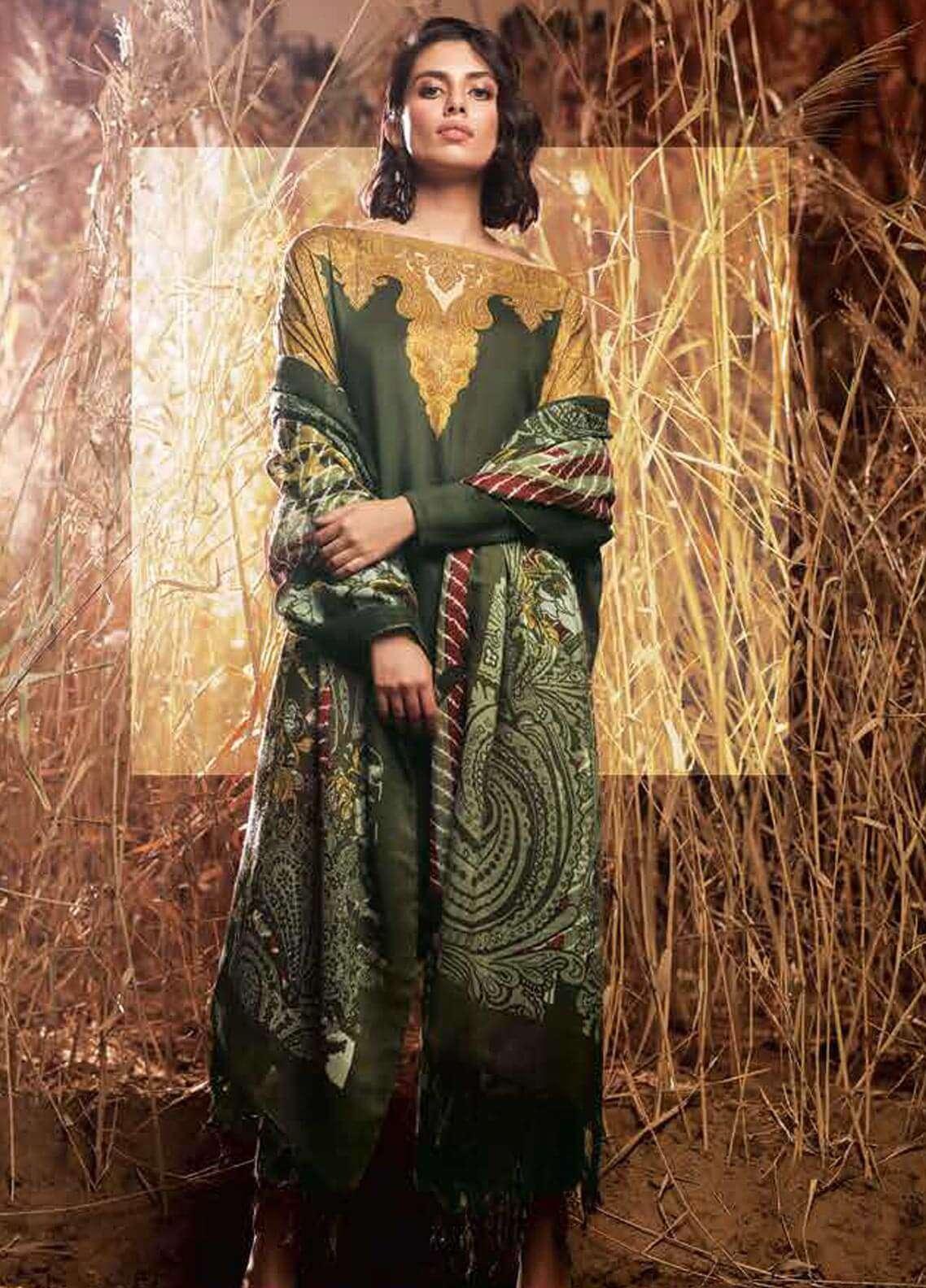 Al Karam Printed Viscose Unstitched 3 Piece Suit AK18W FW 44 OLIVE - Winter Fashion