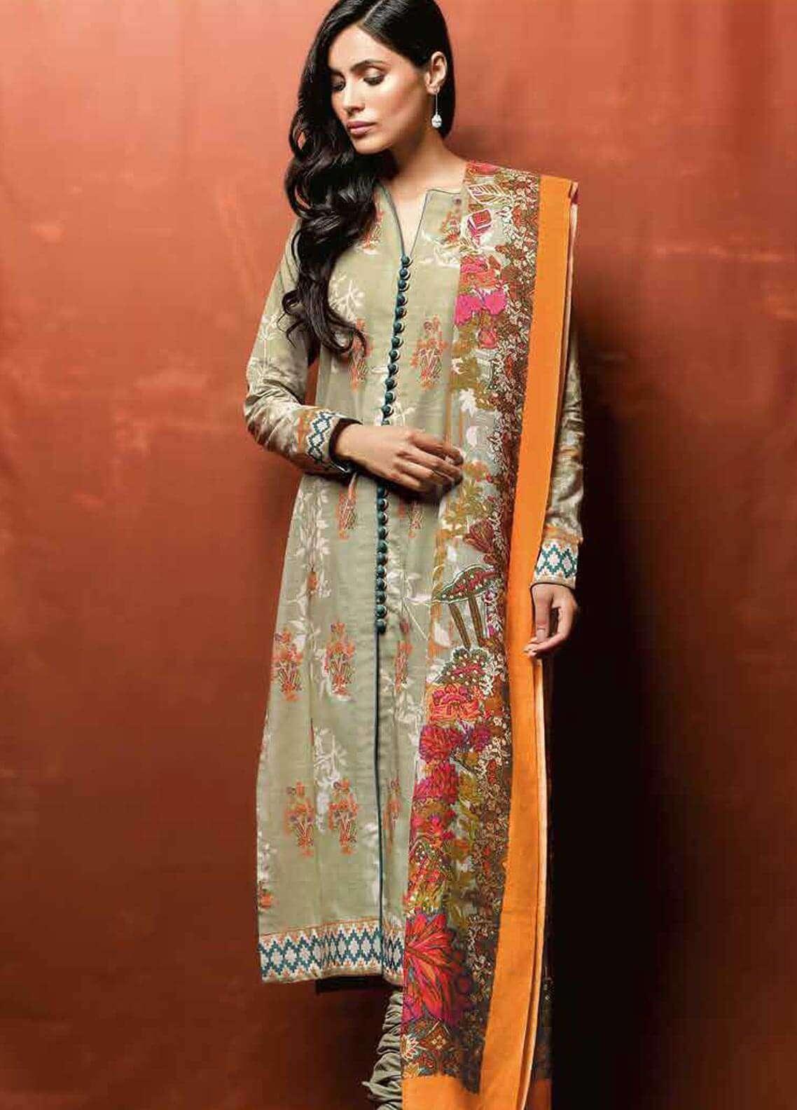 Al Karam Printed Khaddar Unstitched 3 Piece Suit AK18W FW 48.1 LIGHT GREEN - Winter Fashion