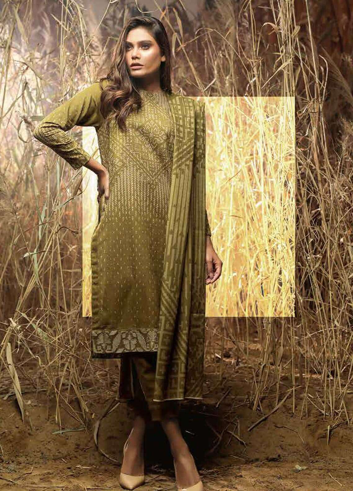 Al Karam Printed Khaddar Unstitched 3 Piece Suit AK18W FW 51 OLIVE - Winter Fashion