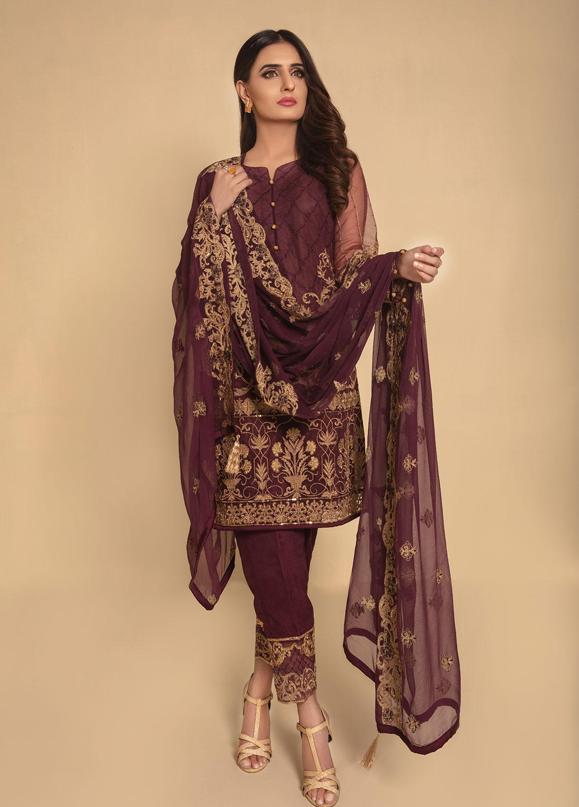 Anahi by Gulaal Embroidered Zari Net Stitched 3 Piece Suit ANG19E 05 PURPLE ALLURE