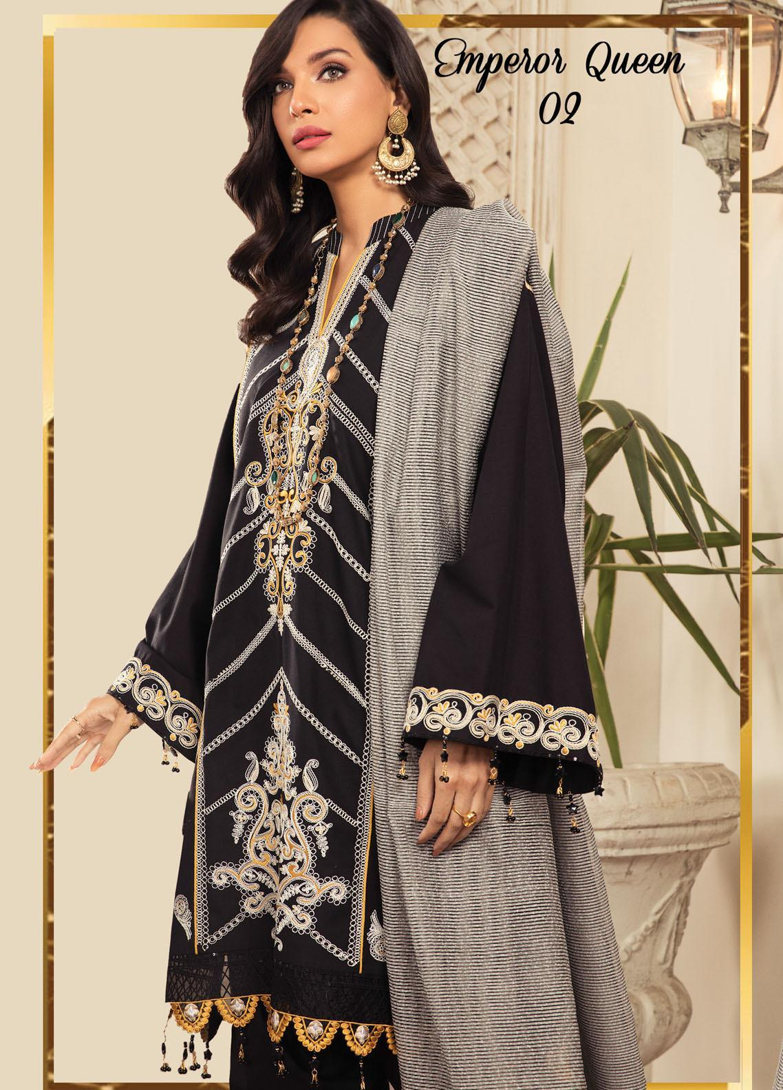 Anamta by Mahwish Ishtiaq Embroidered Lawn Suits Unstitched 3 Piece ANT21L 02-Emperor Queen - Luxury Collection