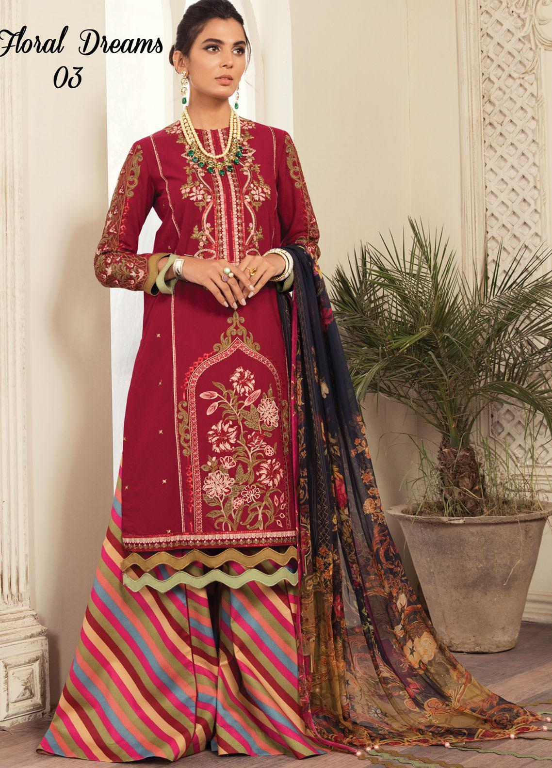 Anamta by Mahwish Ishtiaq Embroidered Lawn Suits Unstitched 3 Piece ANT21L 03-Floral Dreams - Luxury Collection