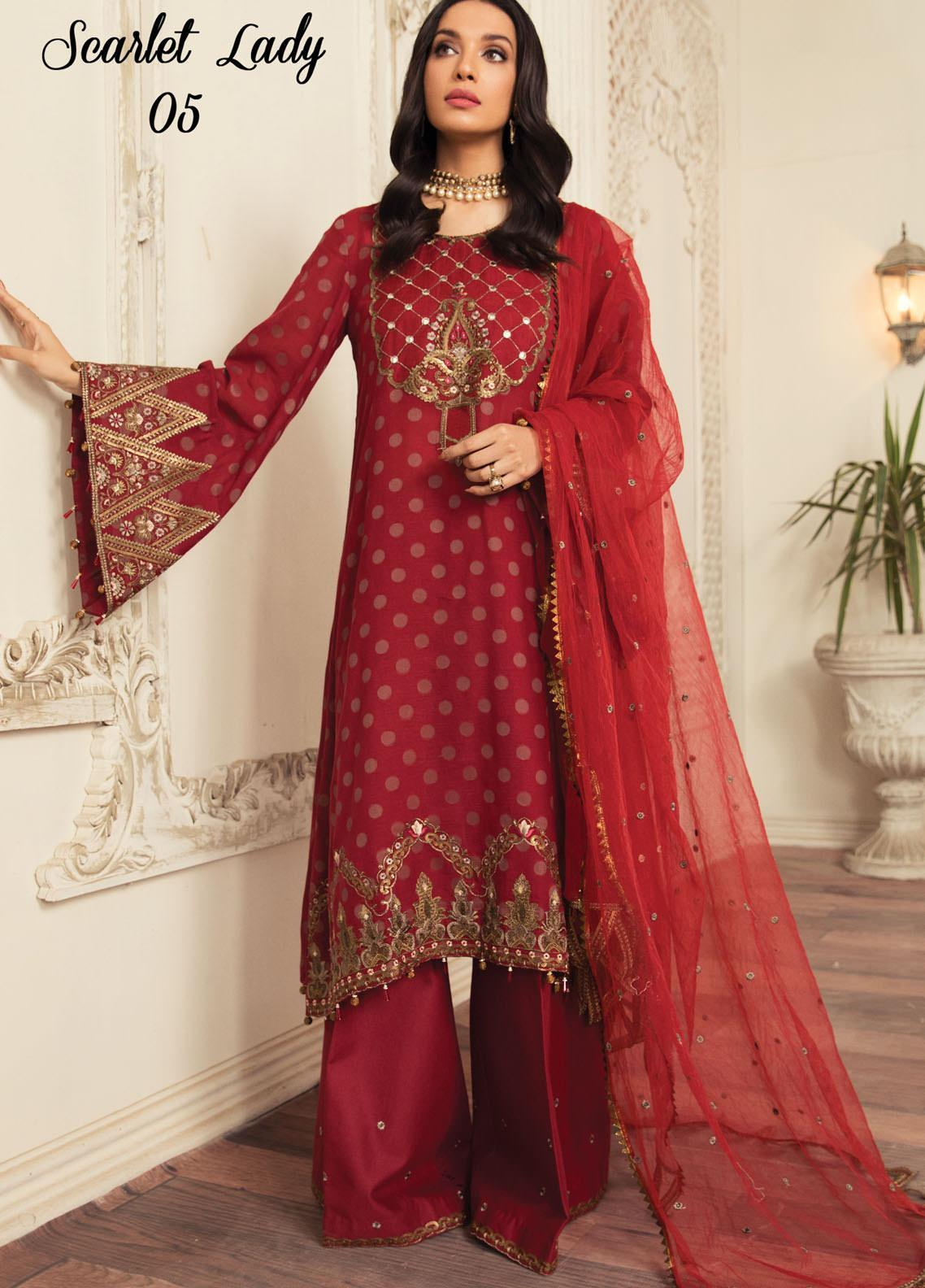 Anamta by Mahwish Ishtiaq Embroidered Jacquard Suits Unstitched 3 Piece ANT21L 05-Scarlet Lady - Luxury Collection