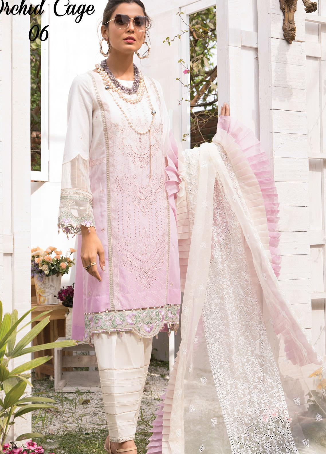 Anamta by Mahwish Ishtiaq Embroidered Lawn Suits Unstitched 3 Piece ANT21L 06-Orchid Cage - Luxury Collection