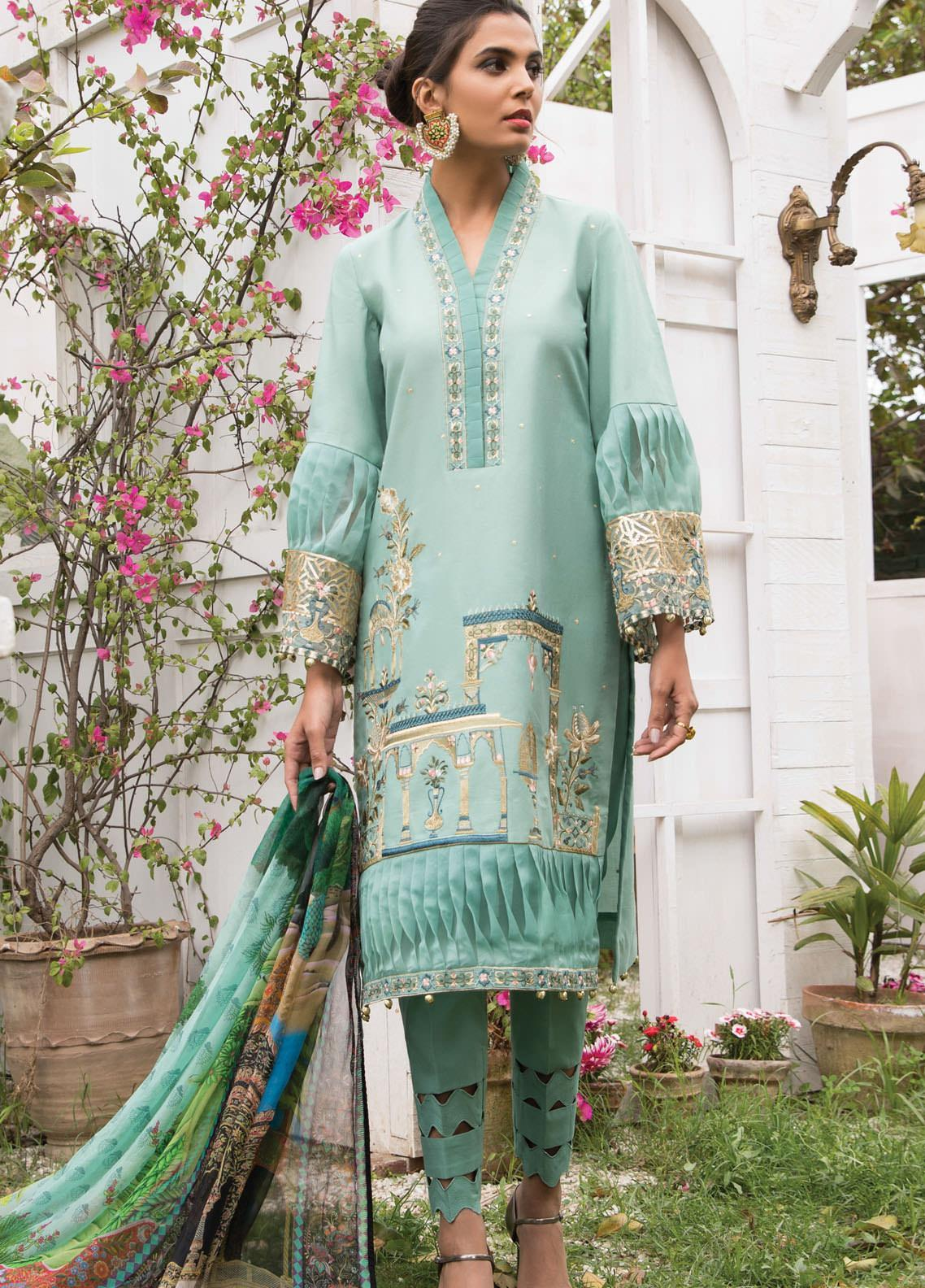 Anamta by Mahwish Ishtiaq Embroidered Lawn Suits Unstitched 3 Piece ANT21L 08-Royal Garden - Luxury Collection