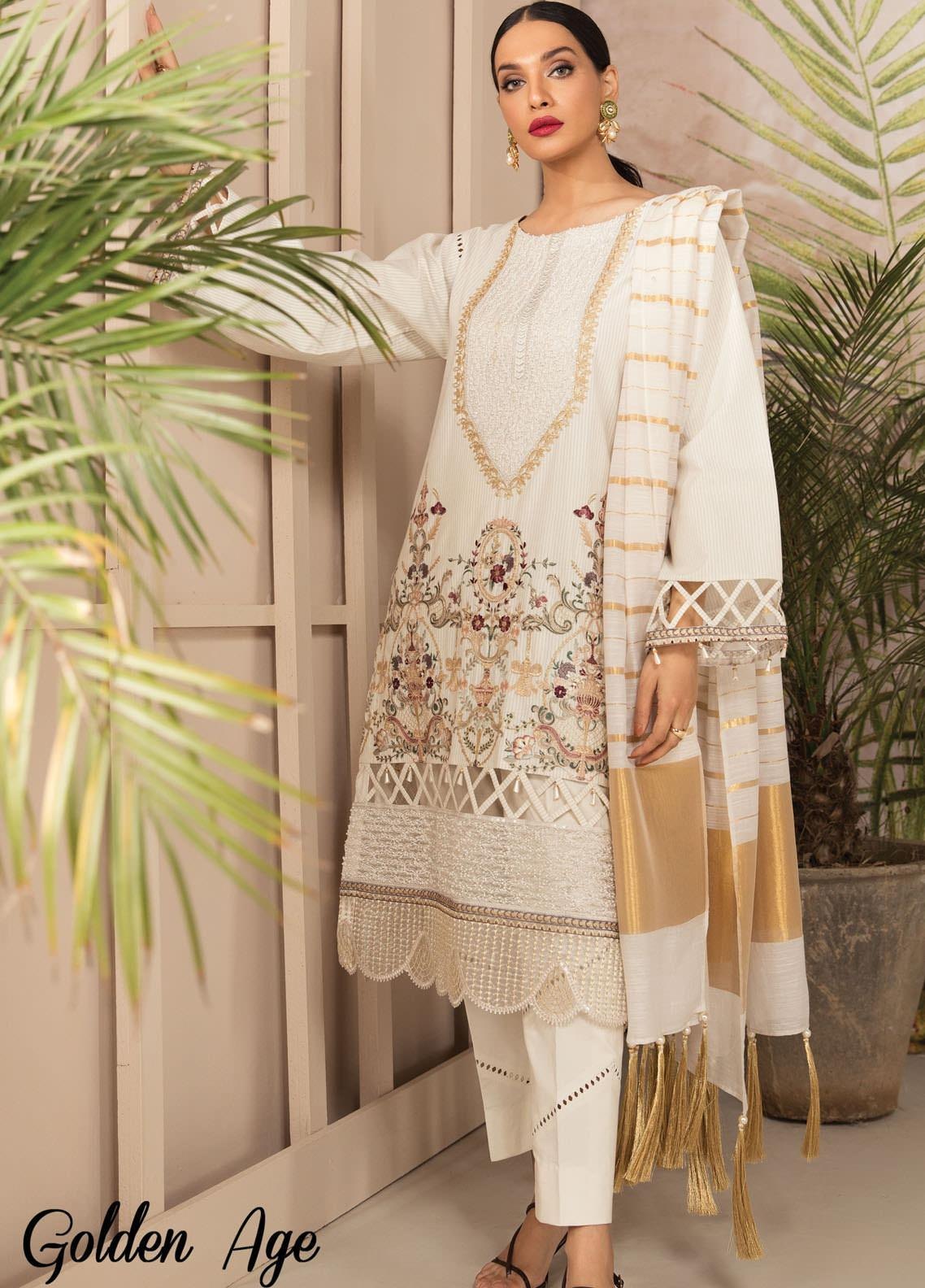 Anamta by Mahwish Ishtiaq Embroidered Lawn Suits Unstitched 3 Piece ANT21L 09-Golden Age - Luxury Collection