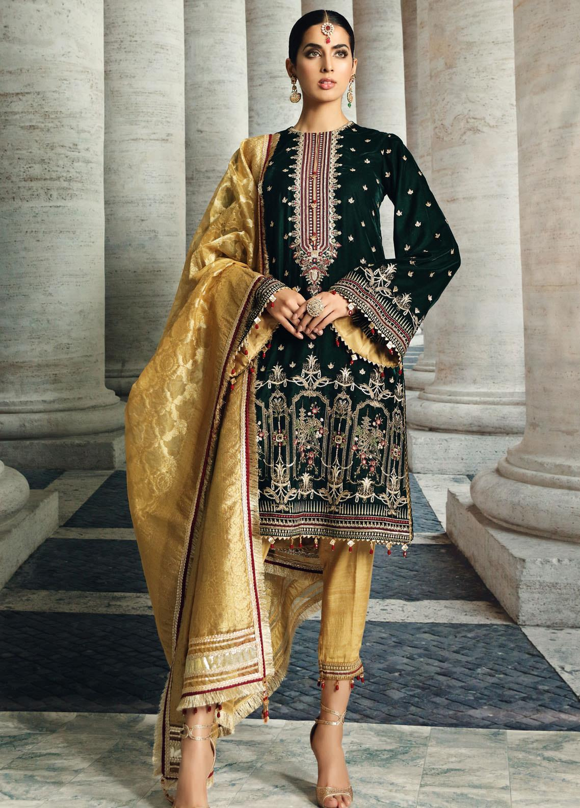 Velour De Luxe by Anaya Embroidered Velvet Unstitched 3 Piece Suit AKC20VL 06 NADINE - Winter Collection