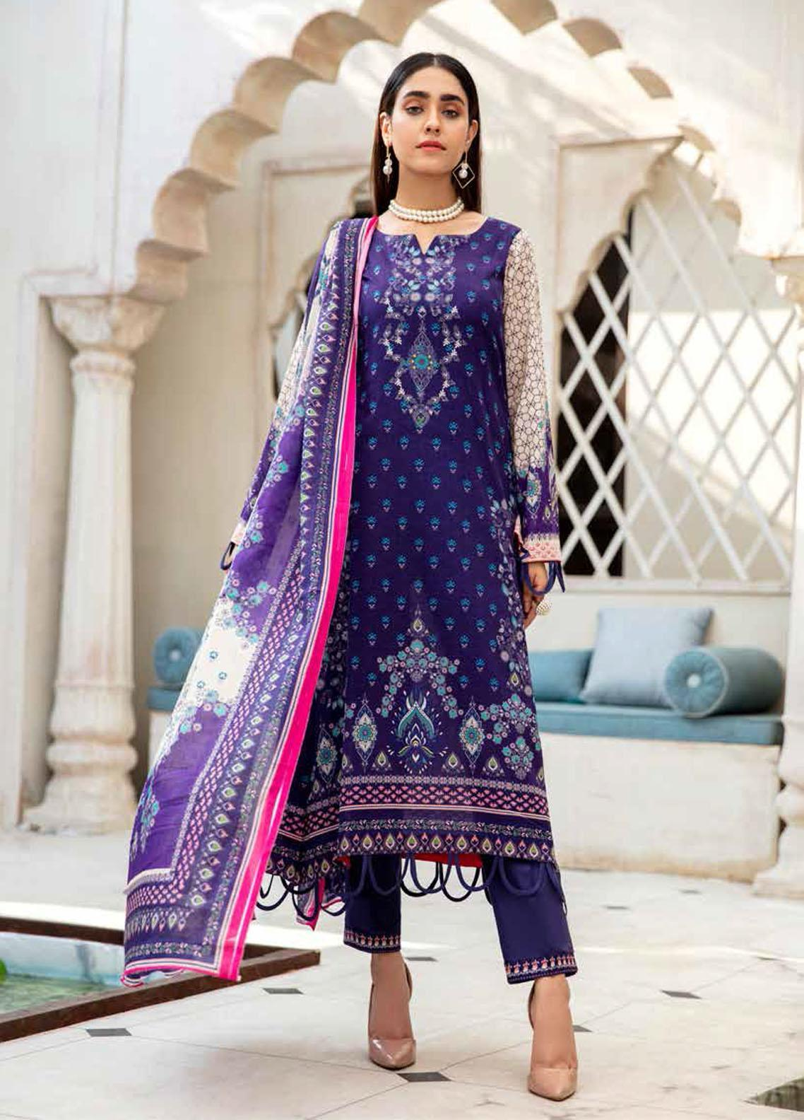 Angan By Banafsheh Printed Lawn Suits Unstitched 3 Piece BF21A 02 - Summer Collection