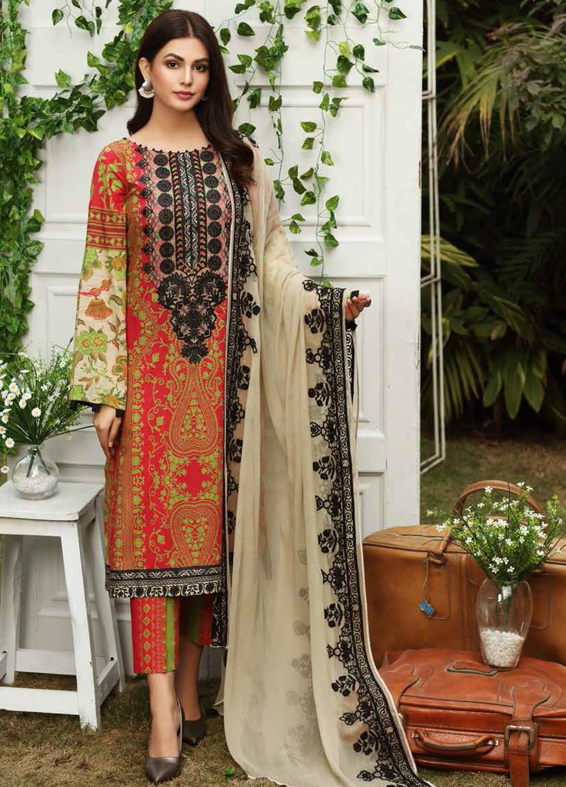 Aniq by Charizma Embroidered Lawn Suits Unstitched 3 Piece CRZ21A 04 - Summer Collection